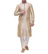 Golden Dupion Embroidered Kurta & Churidar