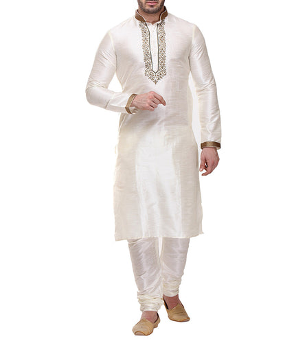 Off White Dupion & Art Silk Embroidered Kurta & Churidar