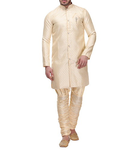 Golden Zari & Brocade Embroidered Kurta & Churidar