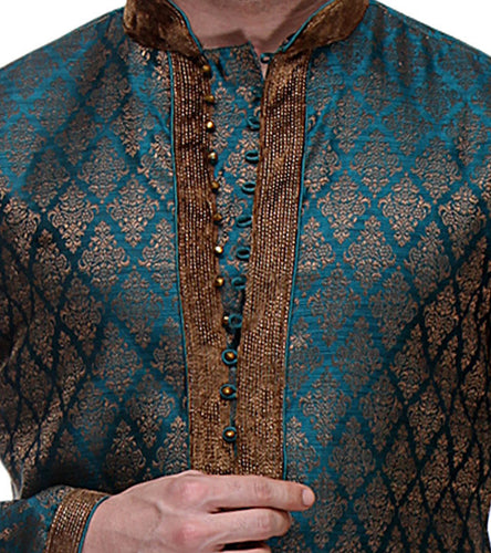 Blue & Brown Zari & Brocade Embroidered Kurta & Churidar