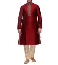 Maroon Dupion & Art Silk Embroidered Kurta & Churidar