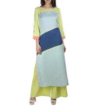 Powder Blue & Green Linen Printed Kurti With Palazzos