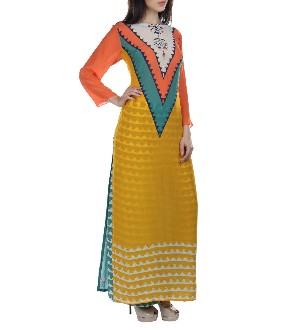 Yellow & Orange Crepe Printed Kurti With Palazzos