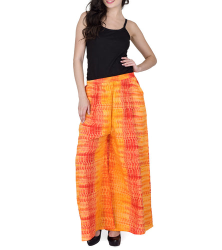 Orange Rayon Printed Palazzos