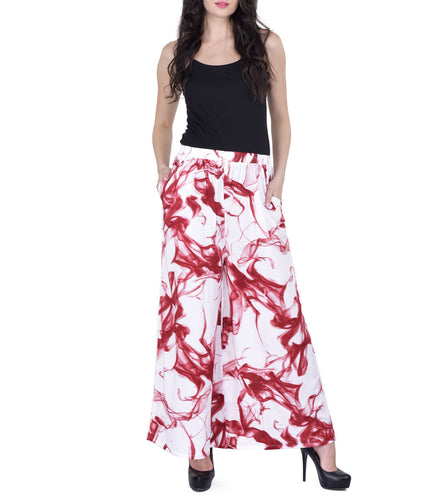 Red & White Rayon Printed Palazzos