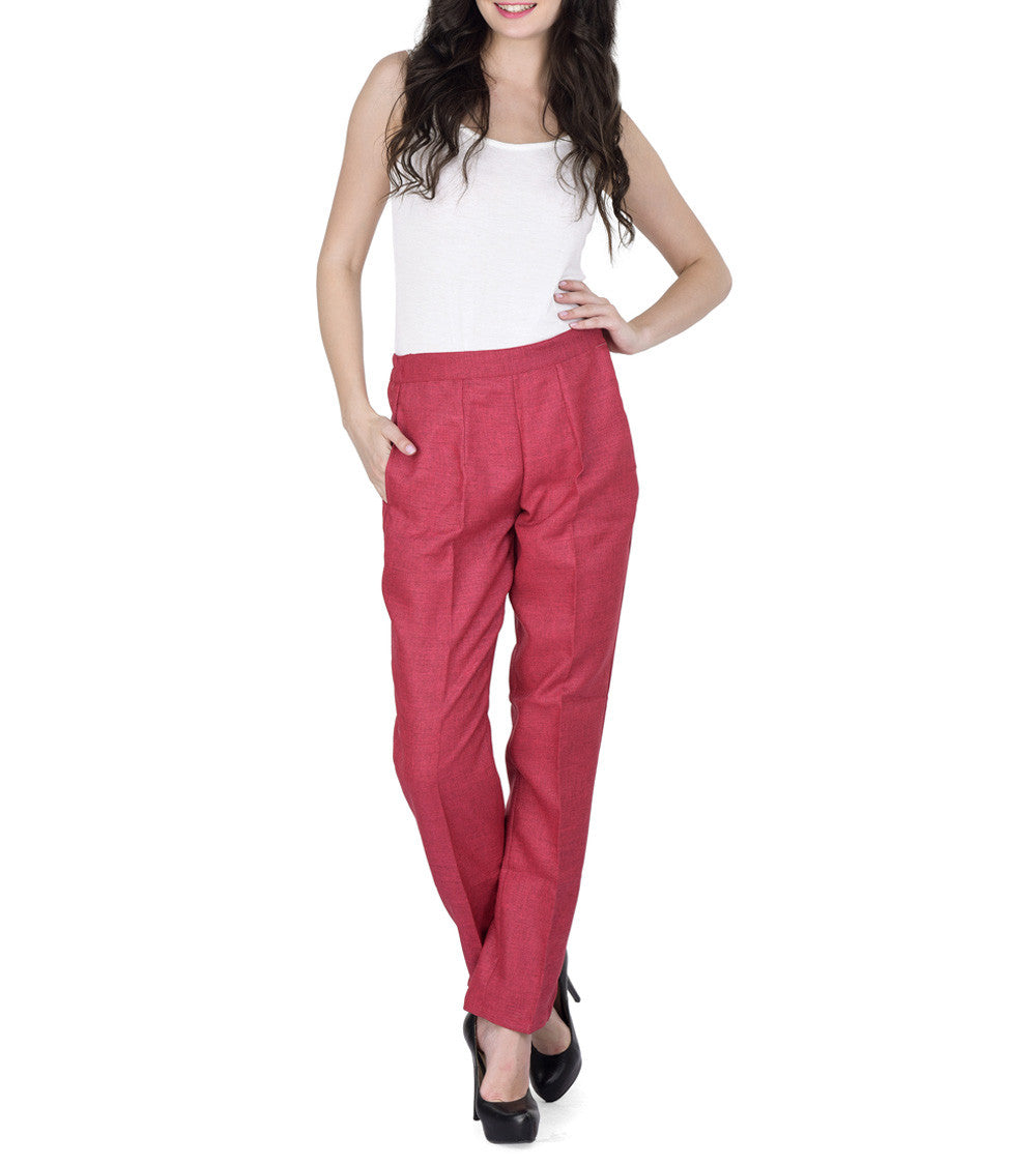 Dark Pink Polyester Solid Pants