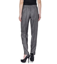 Grey Polyester Solid Pants