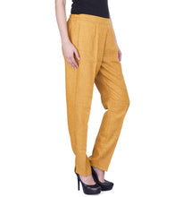 Mango Yellow Polyester Solid Pants