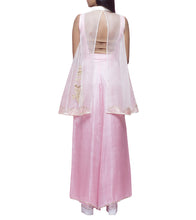 Powder Pink Tussar Silk Dabka Crop Top & Sheer Overlay With Palazzos