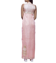 Peach & Cream Tussar Silk Dabka Pencil Dress With Knee High Slit On The Right Side