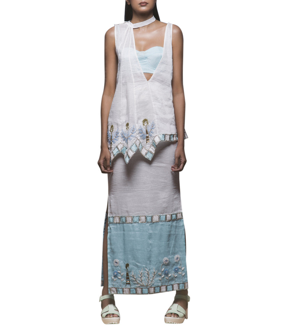 White & Powder Blue Pure Linen Resham Embroidered Top With Skirt