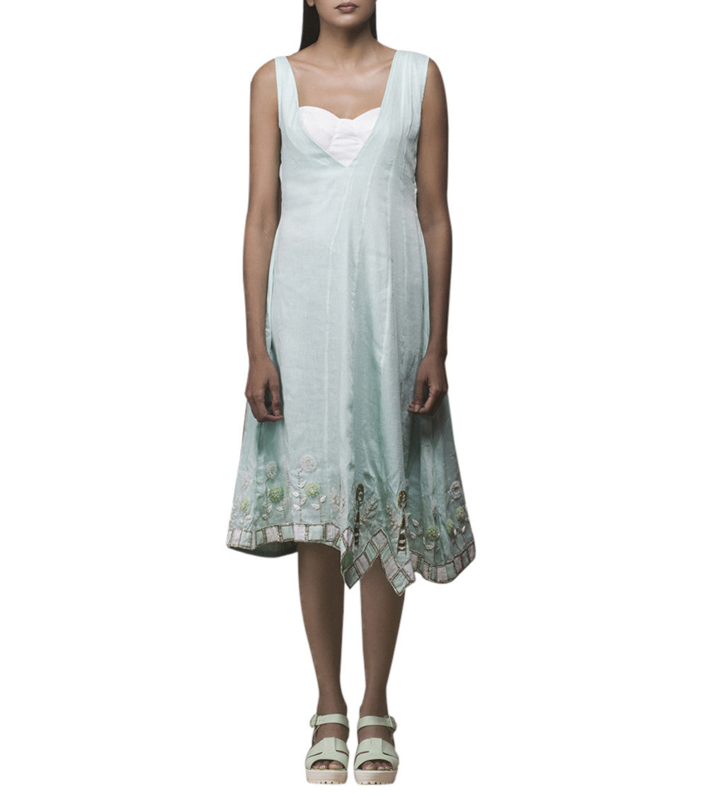 White & Mint Green Pure Linen Resham Embroidered Shift Dress And White Linen Bralet