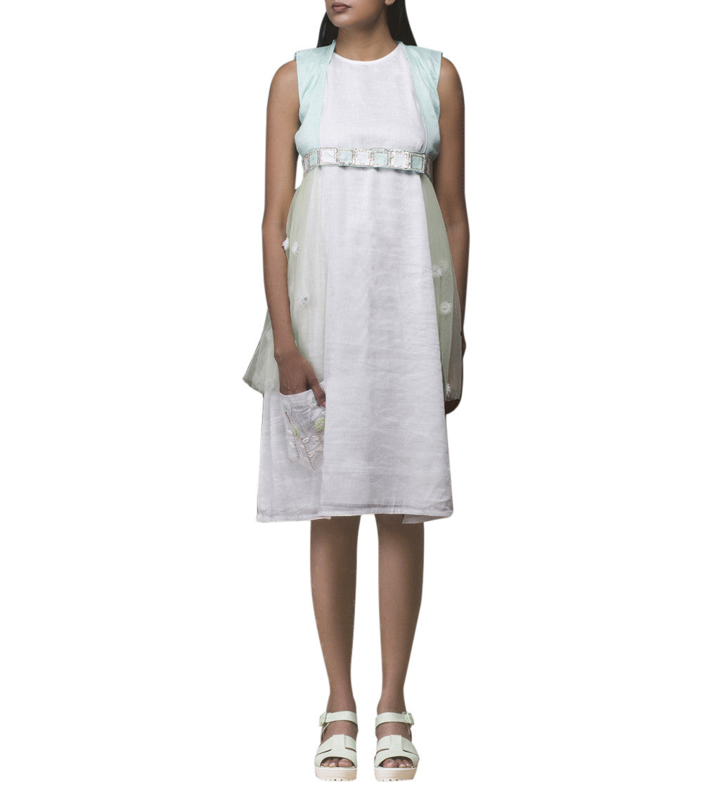 White & Mint Green Pure Linen Resham Embroidered Shift Dress With Jacket