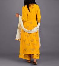 Yellow Georgette Printed Stitched Suit With Palazzos And Dupatta