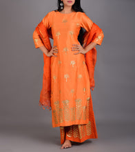 Orange Chanderi Printed Stitched Suit With Palazzos And Dupatta