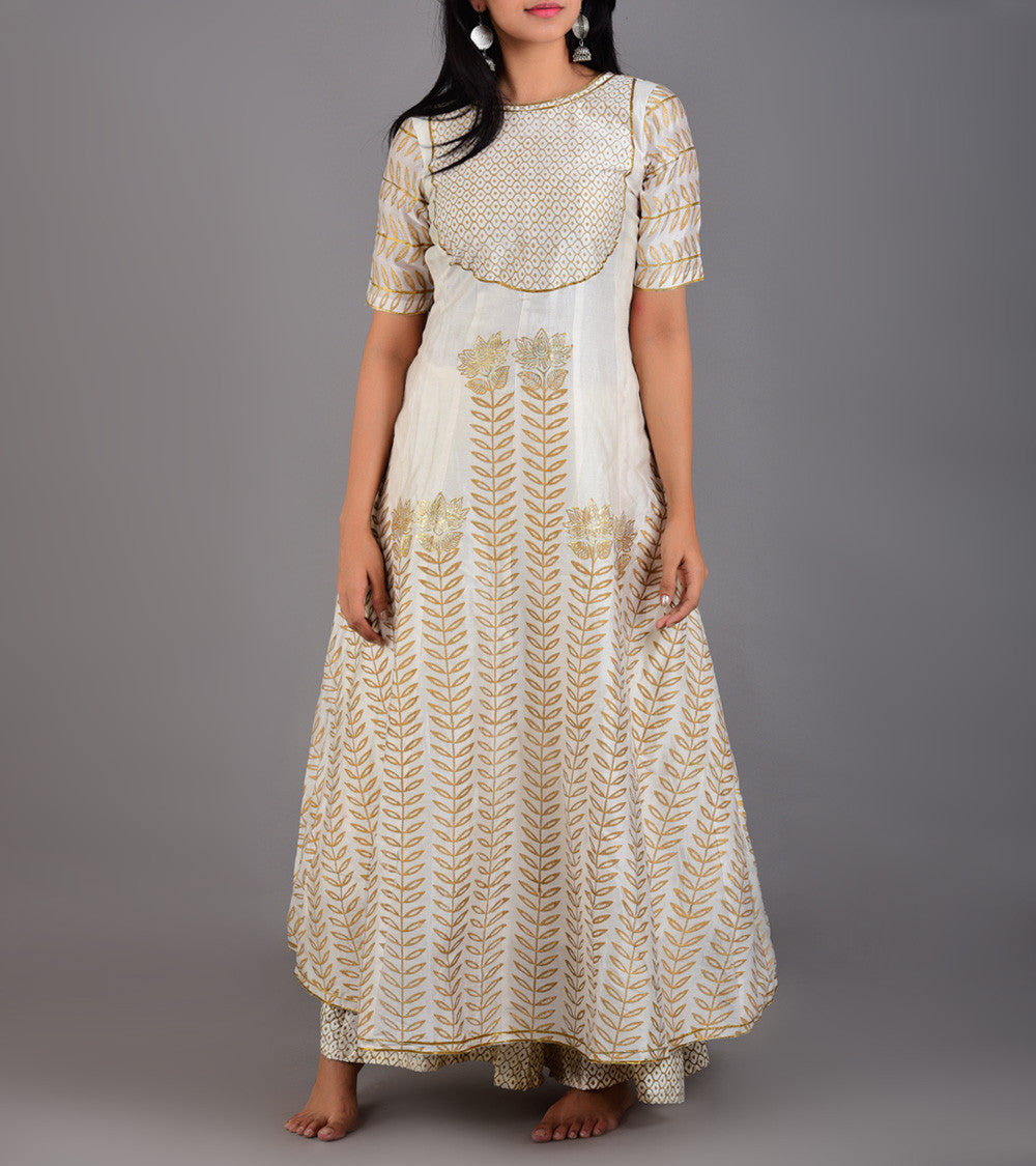 Cream Chanderi Printed Stitched Suit With Palazzos And Dupatta