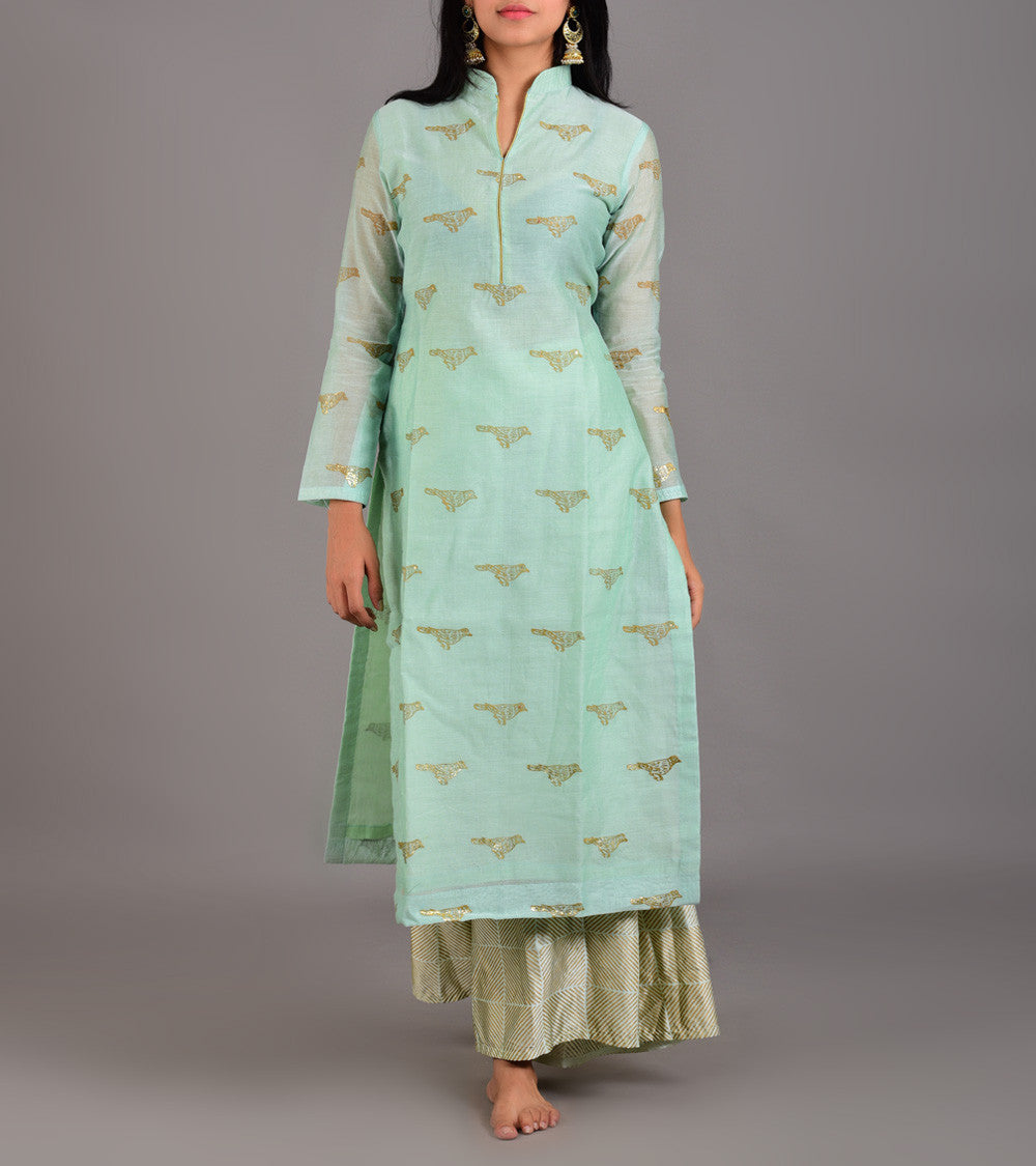 Green Chanderi Printed Stitched Suit With Palazzos And Dupatta