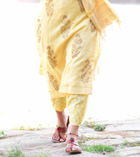 Yellow Chanderi Hand Block Printed Stitched Suit With Palazzos And Dupatta