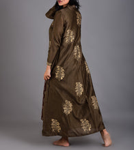 Green Chanderi Hand Block Printed Double Layered Jacket With Coffee Colored Block Printed Inner