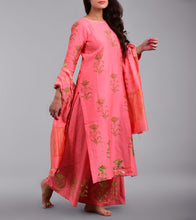 Pink Chanderi Printed Stitched Salwar Kameez With Dupatta
