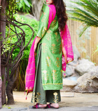 Green Chanderi Printed Stitched Salwar Kameez With Dupatta