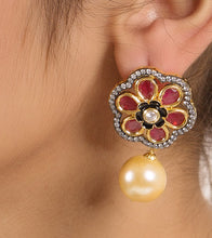 Ruby & White Alloy Metal Bead & Stone Embellished Earrings