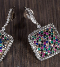Multicoloured Alloy Metal Stone Embellished Earrings