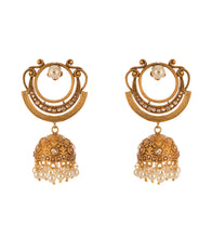 Golden Alloy Metal Bead & Stone Embellished Earrings