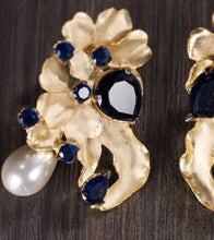 Blue & White Alloy Metal Stone Embellished Earrings