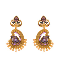 Golden & Purple Alloy Metal Stone Embellished Earrings