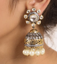 Silver Alloy Metal Bead & Stone Embellished Earrings