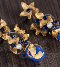 Golden & Blue Alloy Metal Bead & Stone Embellished Earrings