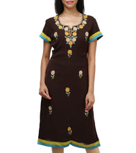 Brown Georgette Embroidered Kurti
