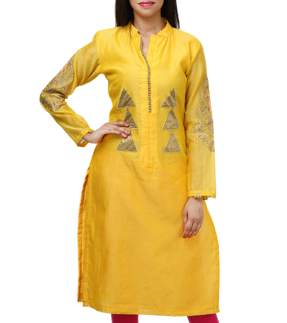 Yellow Art Silk Embroidered Kurti
