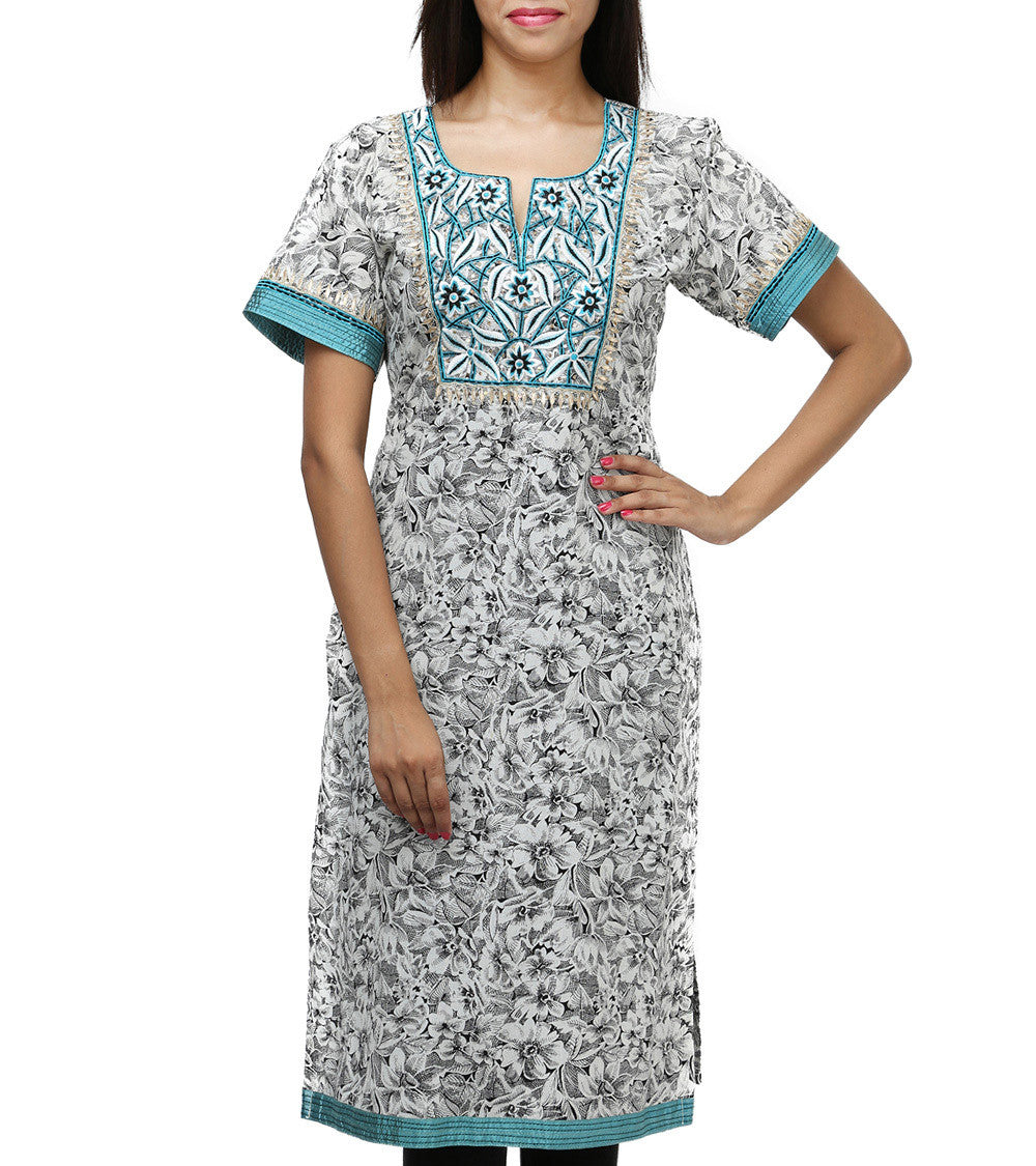 Blue Cotton Sequined & Embroidered Kurti