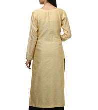 Beige Art Silk Sequined & Zardozi Kurti