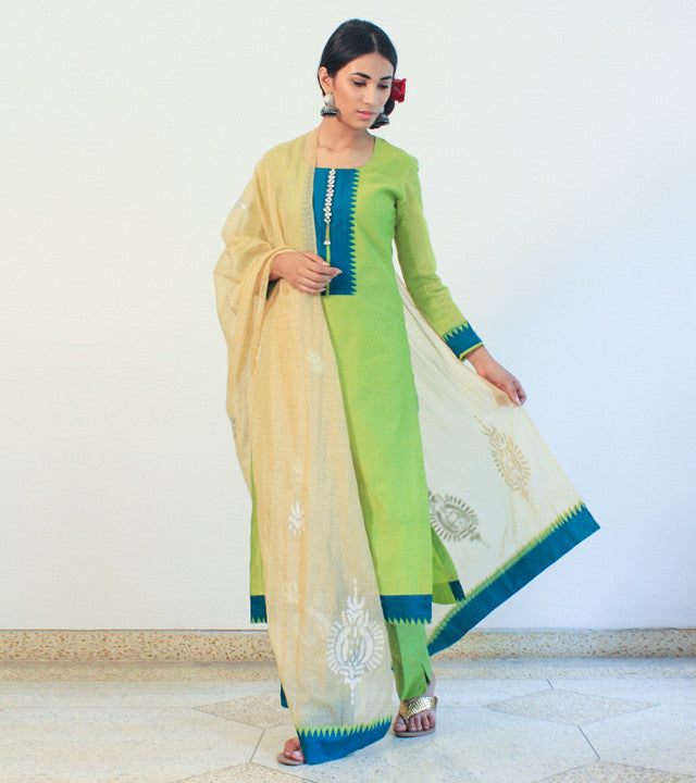 Green Cotton Silk Appliqued Salwar Kameez With Dupatta