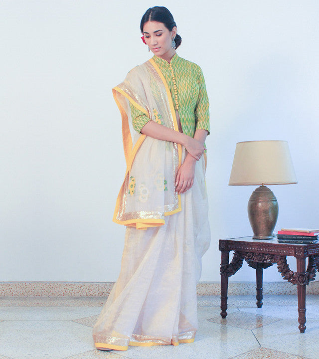 Yellow Cotton Appliqued Saree With Blouse Piece