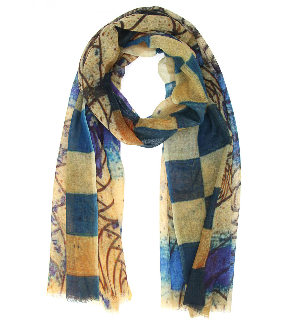 Multicoloured Wool Digitally Printed Scarf