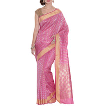 Pink Banarasi Handwoven Art Silk Saree With Blouse Piece