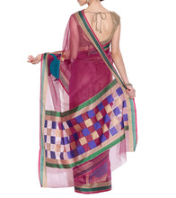 Pink Banarasi Handwoven Net Saree With Blouse Piece