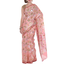 Pink Banarasi Handwoven Faux Organza Saree With Blouse Piece
