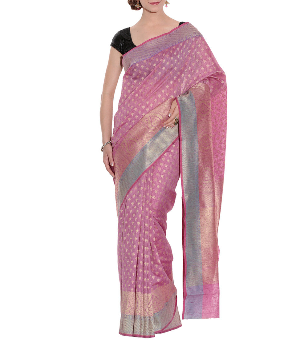 Pink Banarasi Handwoven Tussar Silk Saree With Blouse Piece