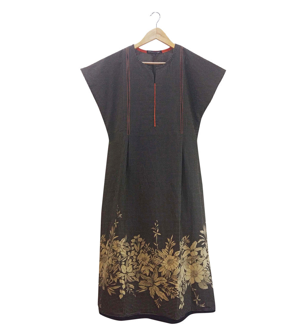 Black Cotton Printed Dress
