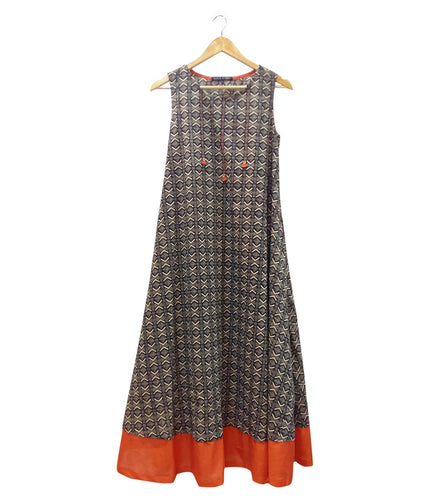 Black & Orange Cotton Printed Dress