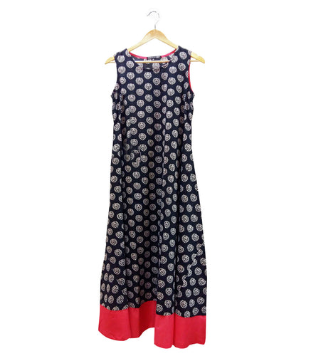 Black & Pink Cotton Printed Dress