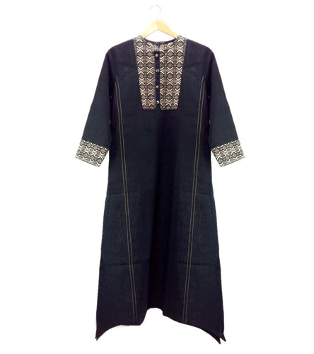 Black South Cotton Printed Kurti