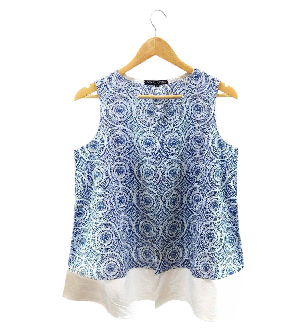Blue South Cotton Printed Top