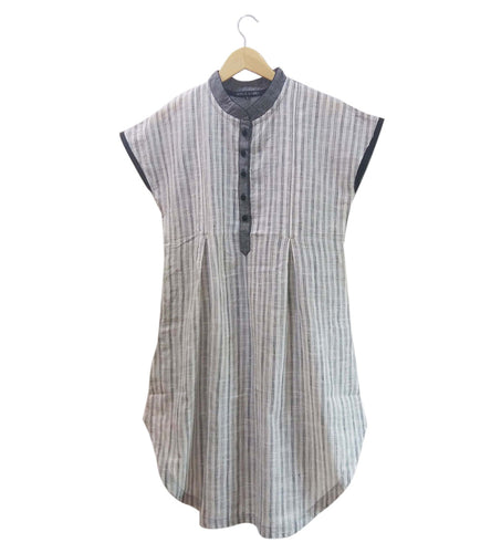 Grey South Cotton Striped Kurti