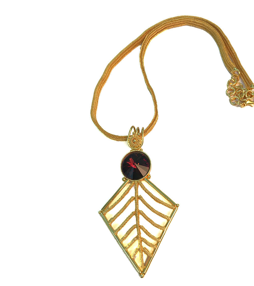 Red & Golden Brass Handmade Necklace With Pendant